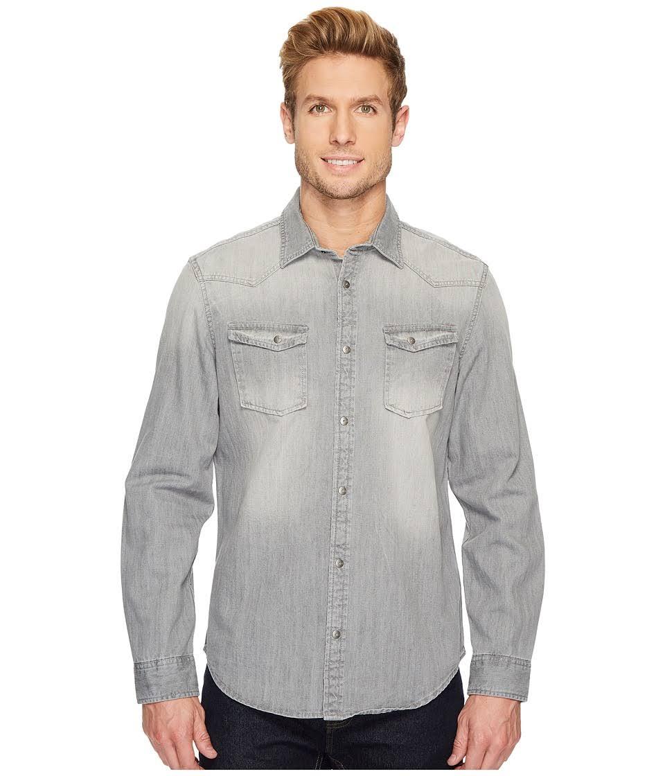 Western Down Hombre Jeans Calvin Klein Flat De Button Grey Manga Shirt Para Larga Denim q8vwt5t7