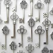Salome Idea Mixed Set of 30 Large Skeleton Keys in Antique Silver - Set of 30 Keys (Silver Color)
