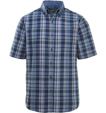 Rich Woolrich Eco Modern Fit Deep Kurzarmhemd Herren Indigo Timberline w7rE7q