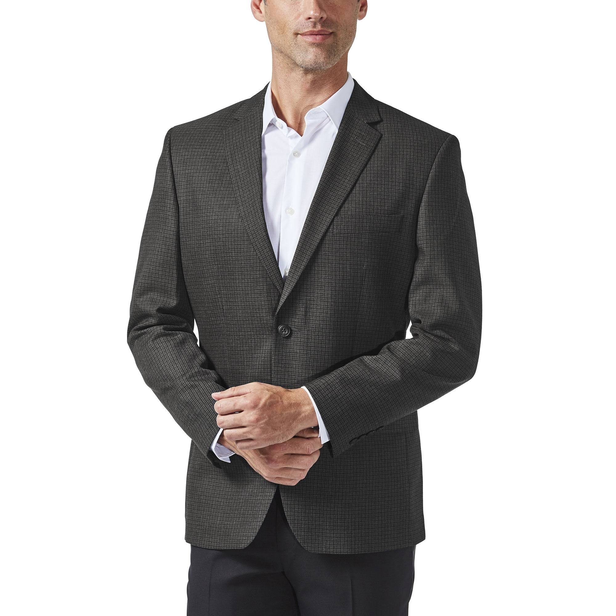 Sportmantel Größe Haggar Tailored 52 Charcoal Black Reg fit Herren Oxford ItHTqw1t