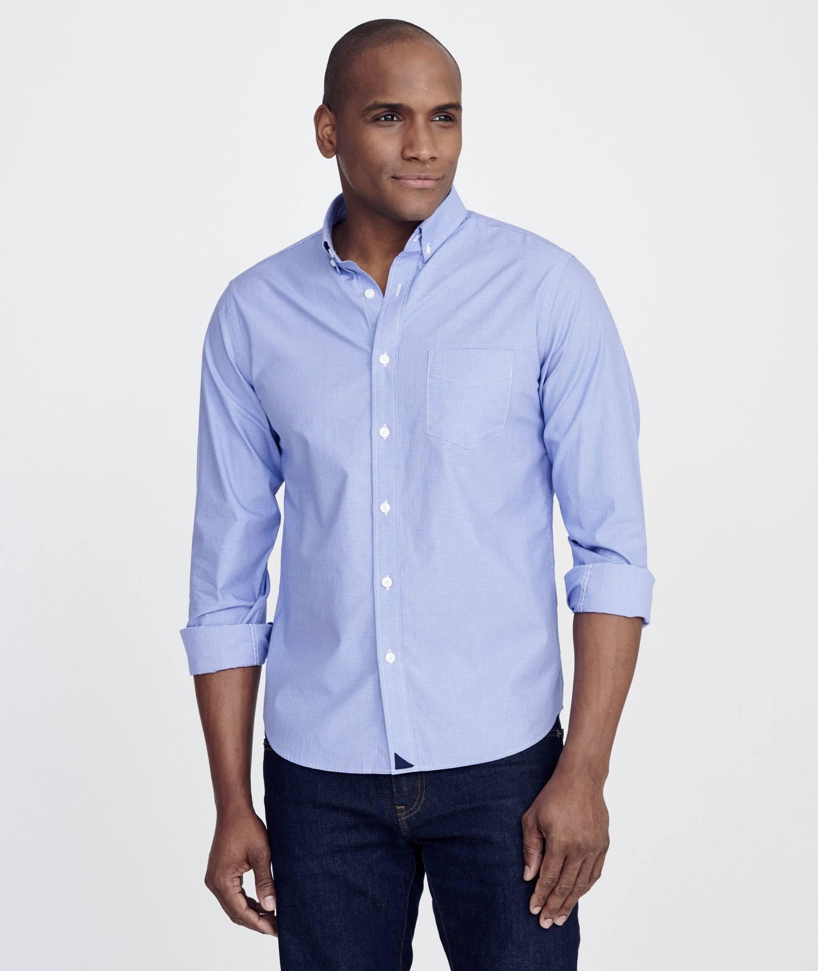 Azul Camisa Hombre Untuckit De Rossese 1g5WnwqTR