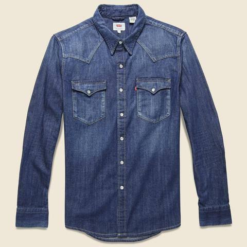 Carbon Dark Barstow M Shirt Levi's Western Chambray Hombre AX7xqdgZw