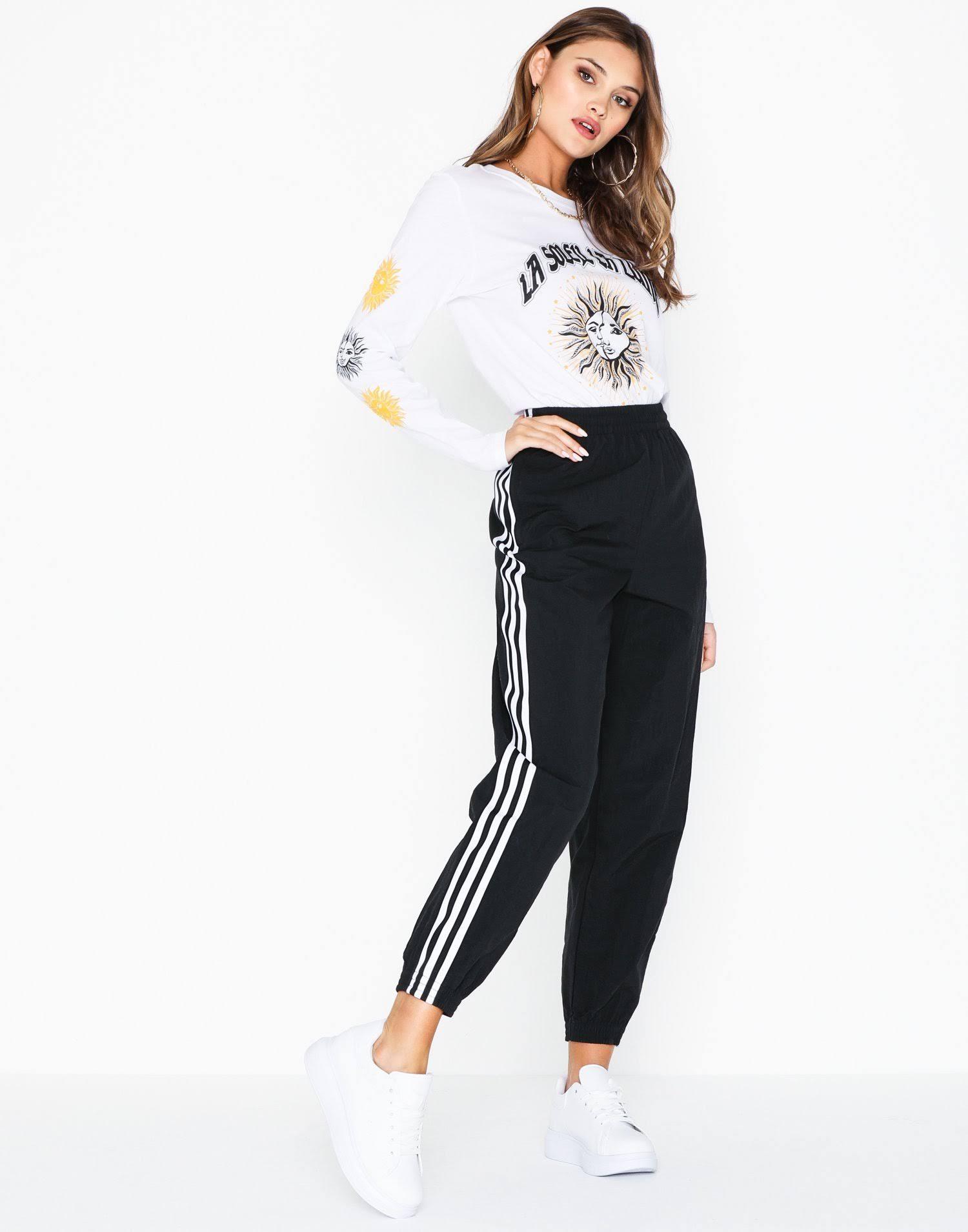 adidas Originals 3-Stripe Track Pants - Black UK 6 at Urban Outfitters
