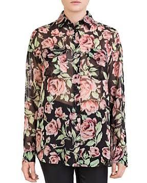 Rosa Kooples Con La Negro Seda Camisa Estampado De Xxqxn684w