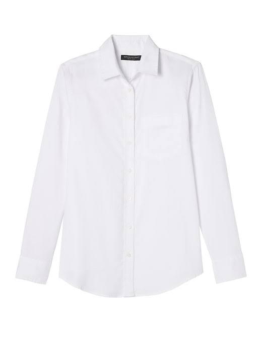 Blanco Para Tamaño Color De Camisa S Banana Mujer Clásico Dillon Oxford Corte Republic Bolsillo 7q8ZAP