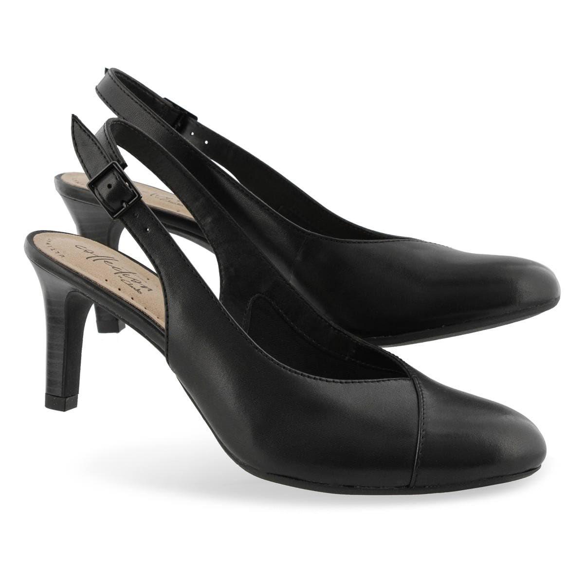 Clarks mix sling Dames danser rug jurk zwart hak 6gYfb7vy