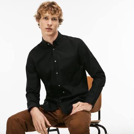 Hombre De Lacoste Regular Algodón Camisa Para Piqué Negro Fit P7wx6B