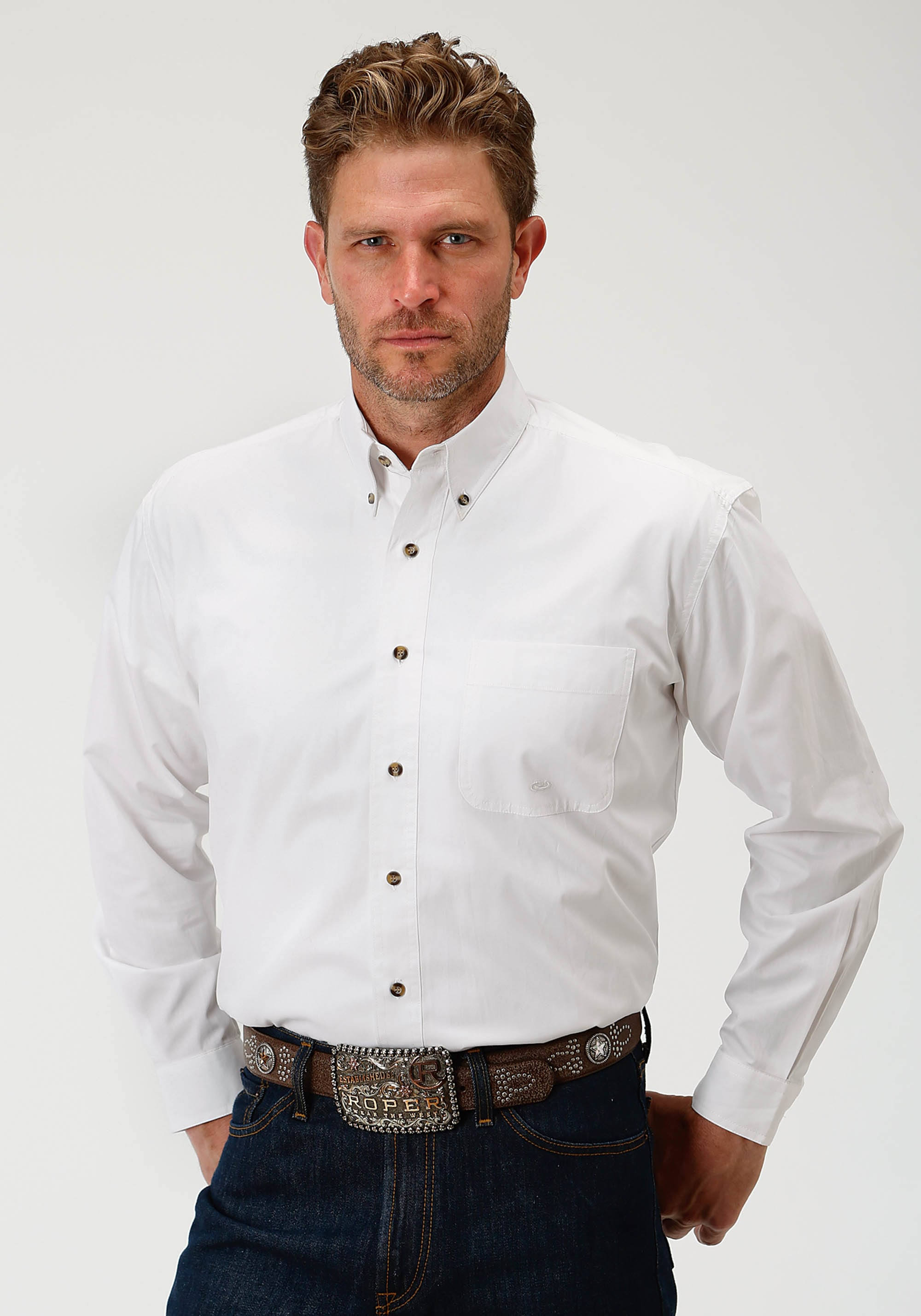 Wh Roper S 001 0025 Blanco Shirt Sólido Hombre Western 03 L 0366 Botón xRwqOp1Bx