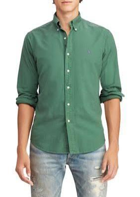 Corte Algodón Polo Para Teñida Slim Hombres De Lauren Green Ralph Stuart Oxford Camisa Con q84W4aFRwU