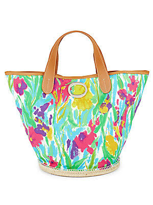 FRANCES VALENTINE Women's Frida Signature Floral Bucket Bag - Pink Camel