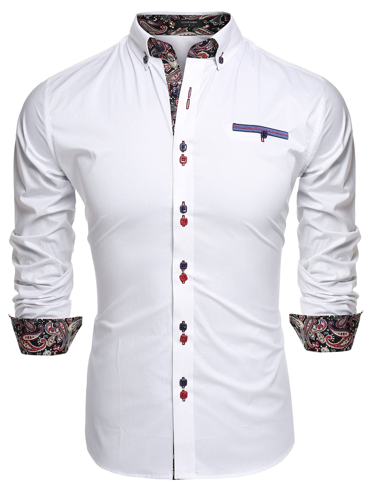 Coofandy Herrenmode Weiß Slim Dress Fit Casual Shirt qSzOwZq
