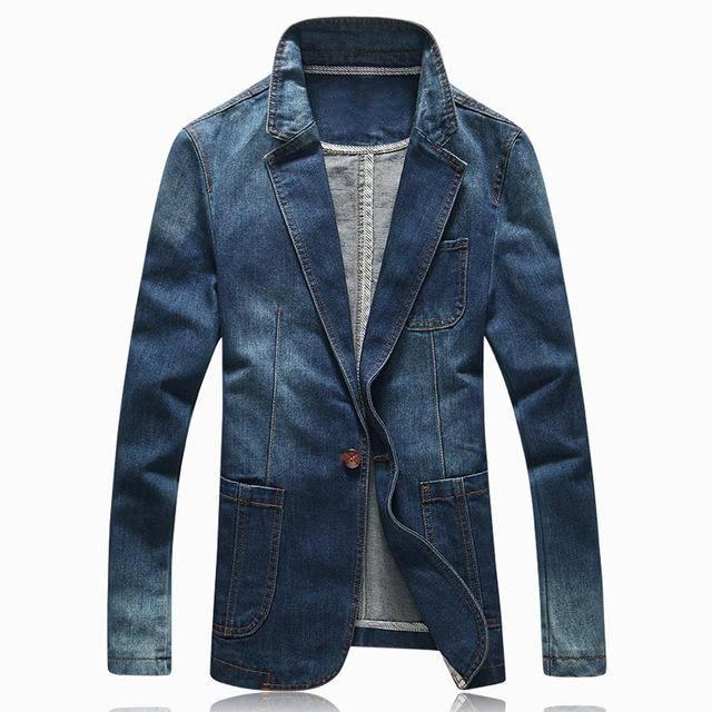 Dunkelblau Anzug Marke Xxl Jean Fit Trend Denim Slim Jeans Jacke Casual Costbuys Neue Anzüge Frühlingsmode Herren Blazer RqZUq