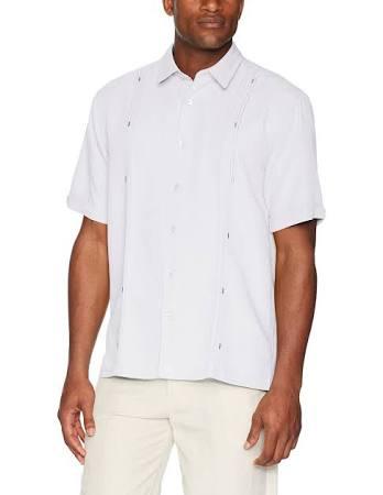 Weiß Cubavera Herren Double Kurzarmhemd Tuck M rSnBqIYSf