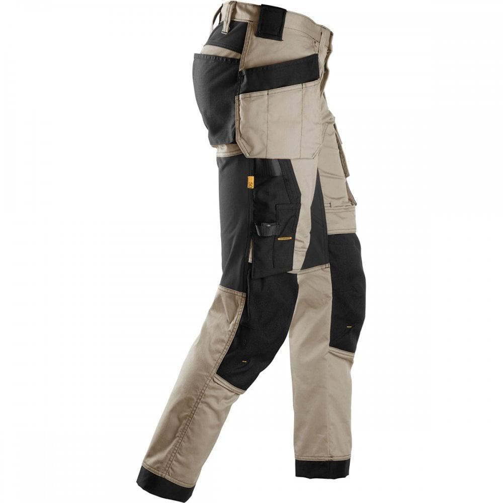 "Snickers 6241 AllroundWork, Stretch Work Knee Pad Trousers Holster Pockets Khaki/Black, Khaki / Black / 50 (35"" Waist, 32"" Leg)"