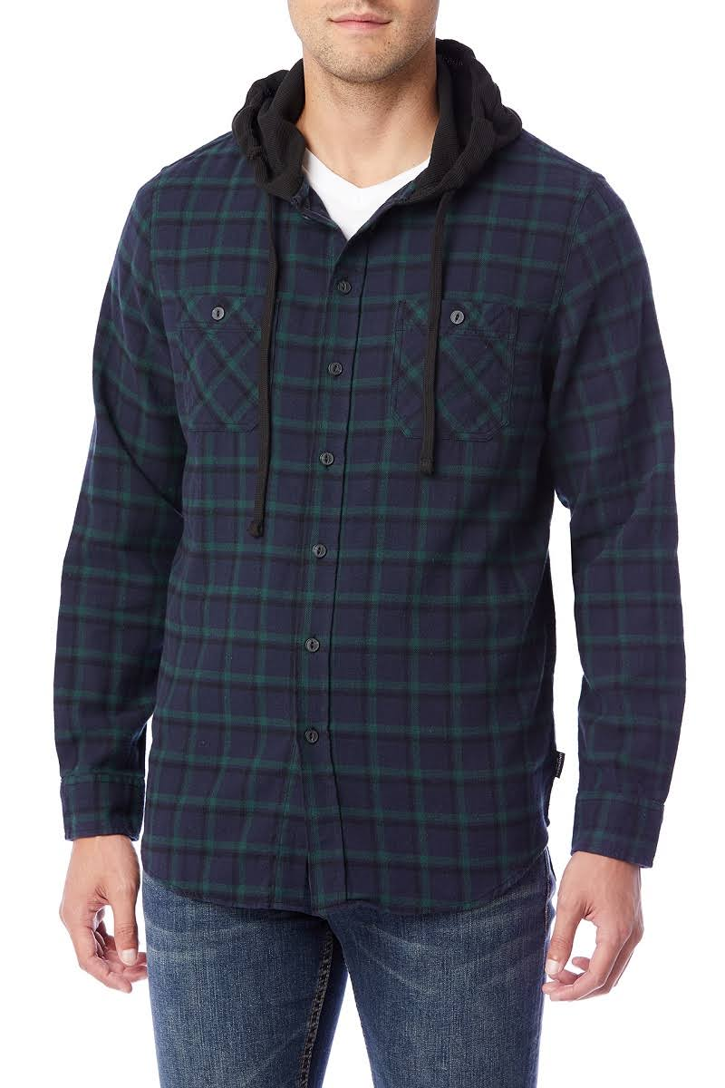 Unionbay Black Hooded Unionbay Hooded Plaid Flannel OqPIF