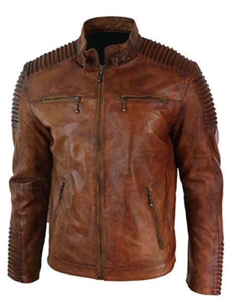 Leathers Chaqueta Brown Biker De Cafe Racer Mens Envejecido Cuero Abz Vintage Motorcycle d08d1
