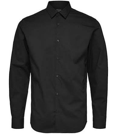 Small herrenhemd Homme Fit Schwarz Selected down Herren Slim Größe Button Für wRqTvW4pT