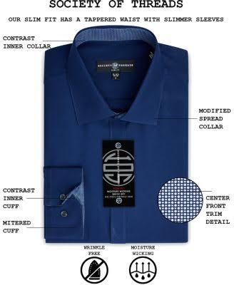 Sin Mangas L De La Para Corte Sociedad Hilos Threads Hombre Camisa Azul Vestir Ceñido Edfpn8xdqW