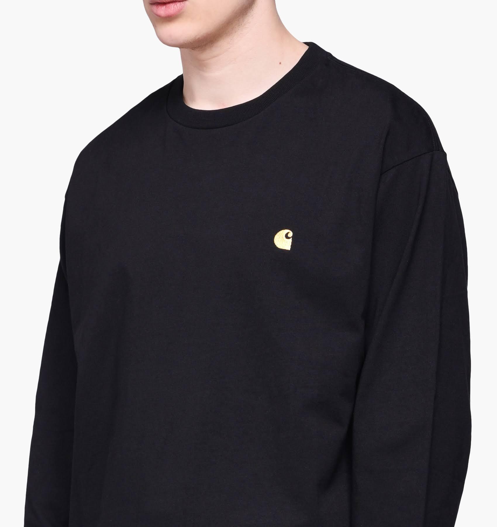 oronero maniche Sleeve maschili Long Tee T lunghe CarharttChase Xs Black shirt 6gv7yIbfYm