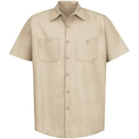 Bronceado Camisa Suave 3xl Manga Corta Industrial Sp24 De Kap Sólida Red Trabajo OOaB4qz