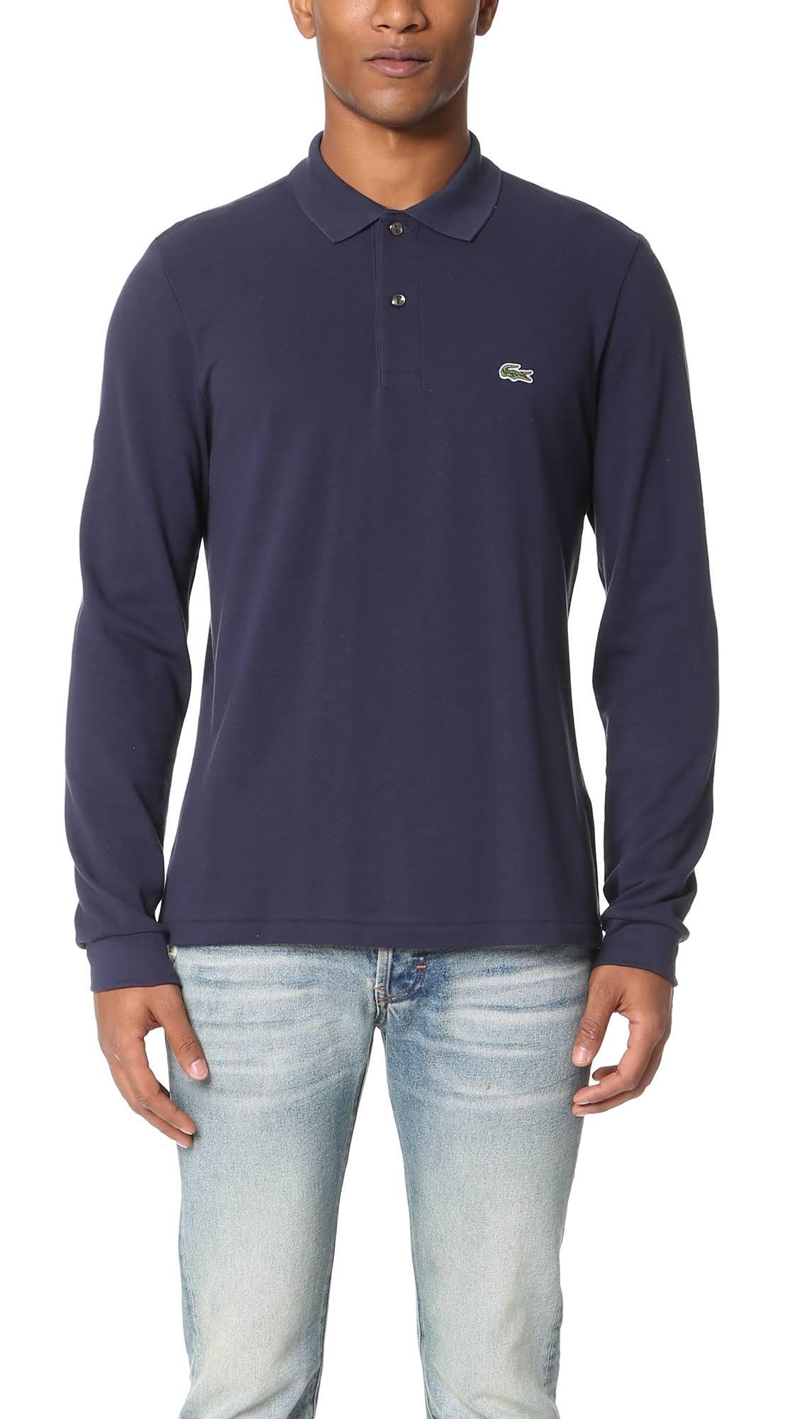 X Herren Langarm Lacoste Pique large Poloshirt Marineblau xP8B0Tw