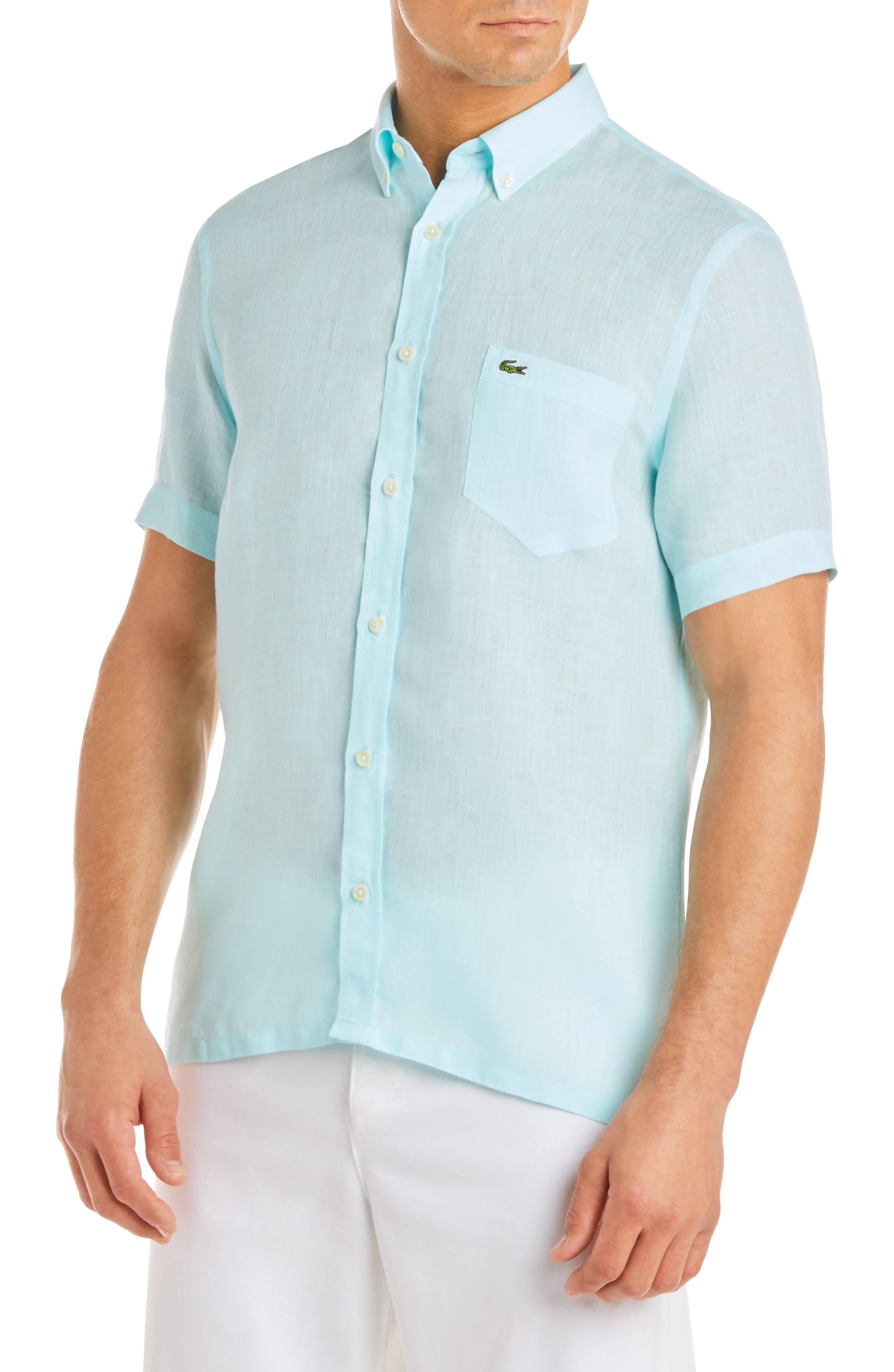 Hombre Camisa M De Bolsillo Lacoste Azul Para Lino qqfB6w