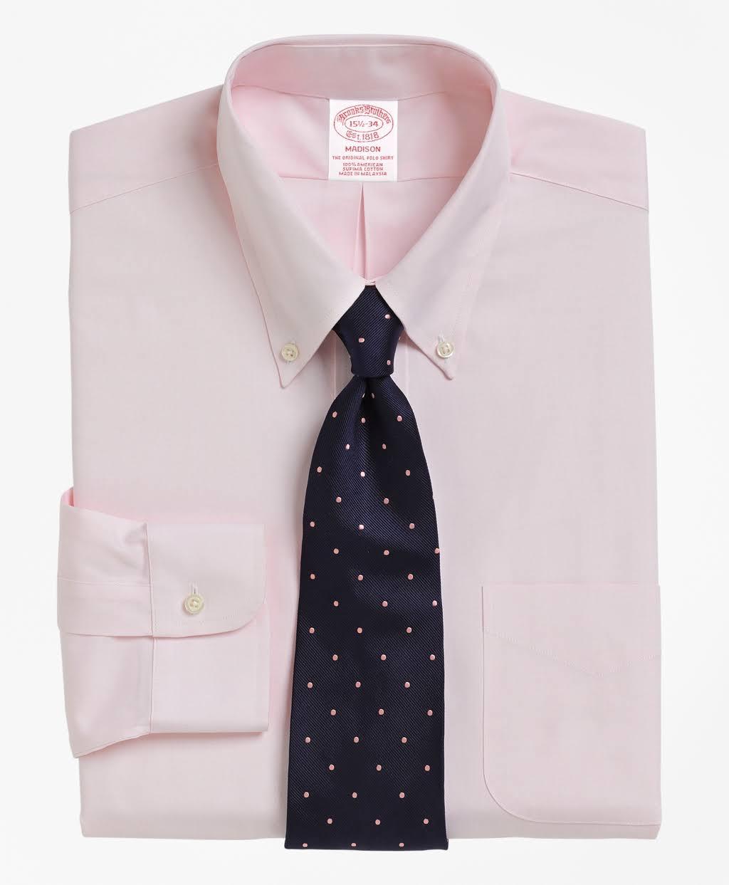 Con Color Vestir Cuello Clásico Abotonado De Rosa Camisa Corte Hombres Brooks Brothers Para 8OPxBx6