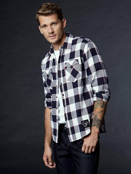 A Para Cuadros Western Levi's Hombre 3xl Texans Nfl Vaquera Camisa De Houston gv5wZvq