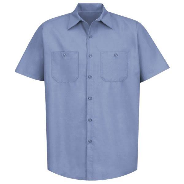 Sp24 Azul Red Corta Lt De Kap Manga M Camisa Trabajo Industrial Sólida AYfw8