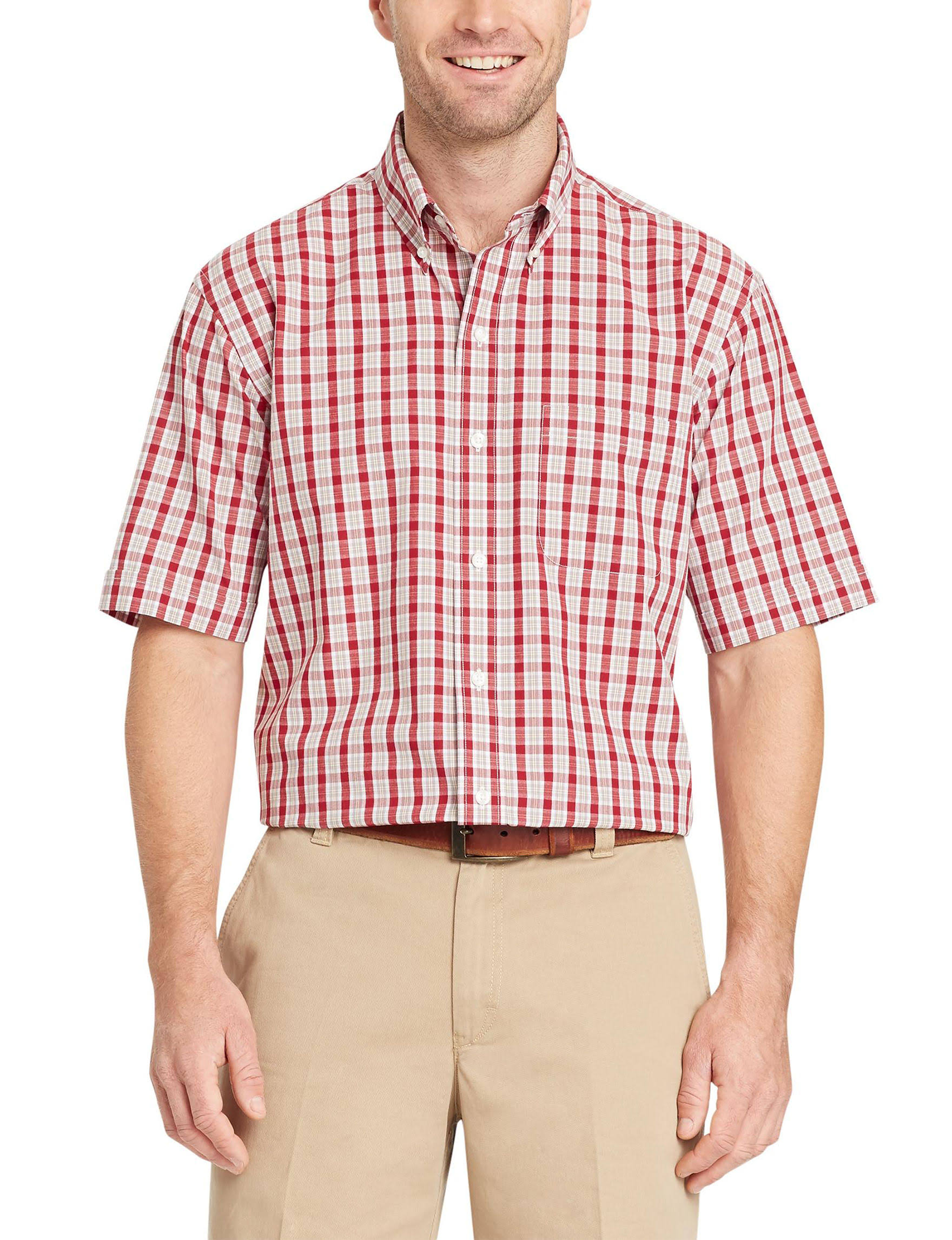 Red Large hemd Von Hamilton Rhabarber Kurzarm Arrow popeline Größe qS7zz0