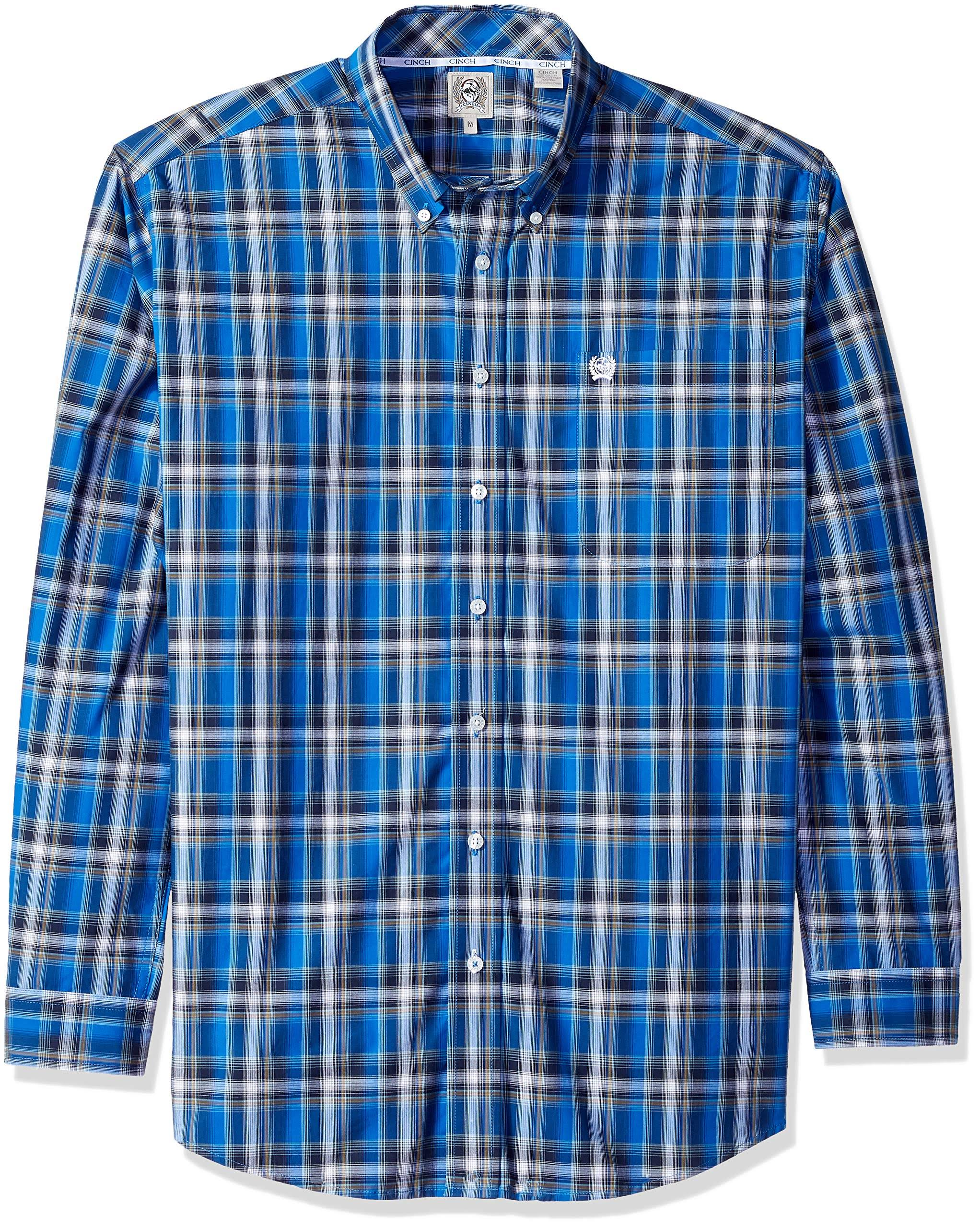 Para A Manga Marino Cinch Con Hombre Larga Camisa Marrón De Botones Azul Cuadros M Snwqdt0Hg