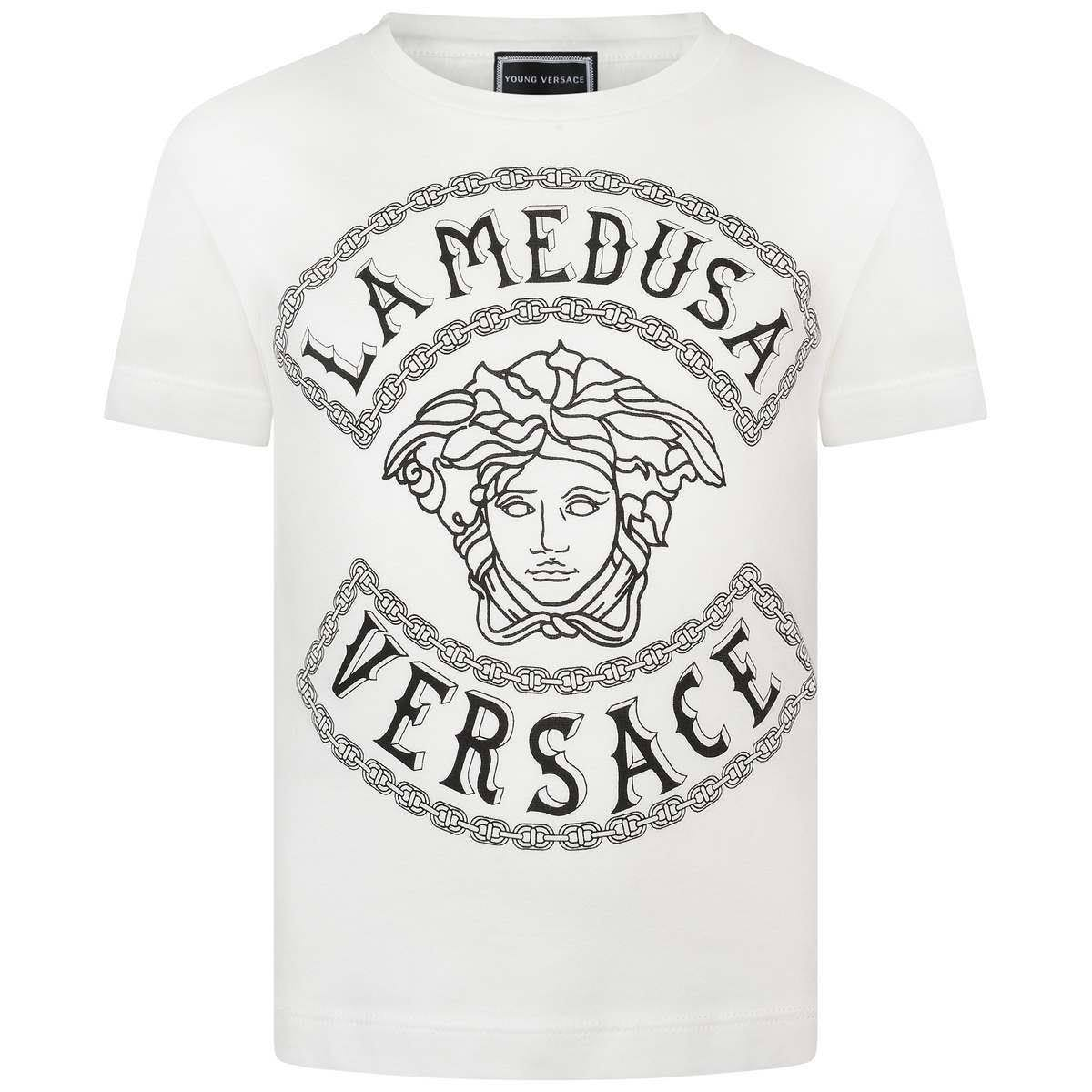 Algodón Blanco 14 Top Medusa Boys Años Versace L Young 6qaTf4nw