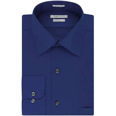 Van Azul De 34 16 Lux Satén Manga Camisa 35 Talla Vestir Cuello Heusen Terciopelo qtUFx8Swa