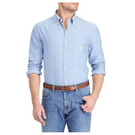Chaps Größe Blau Solid Large Langarm Oxford Herren rwxIHr