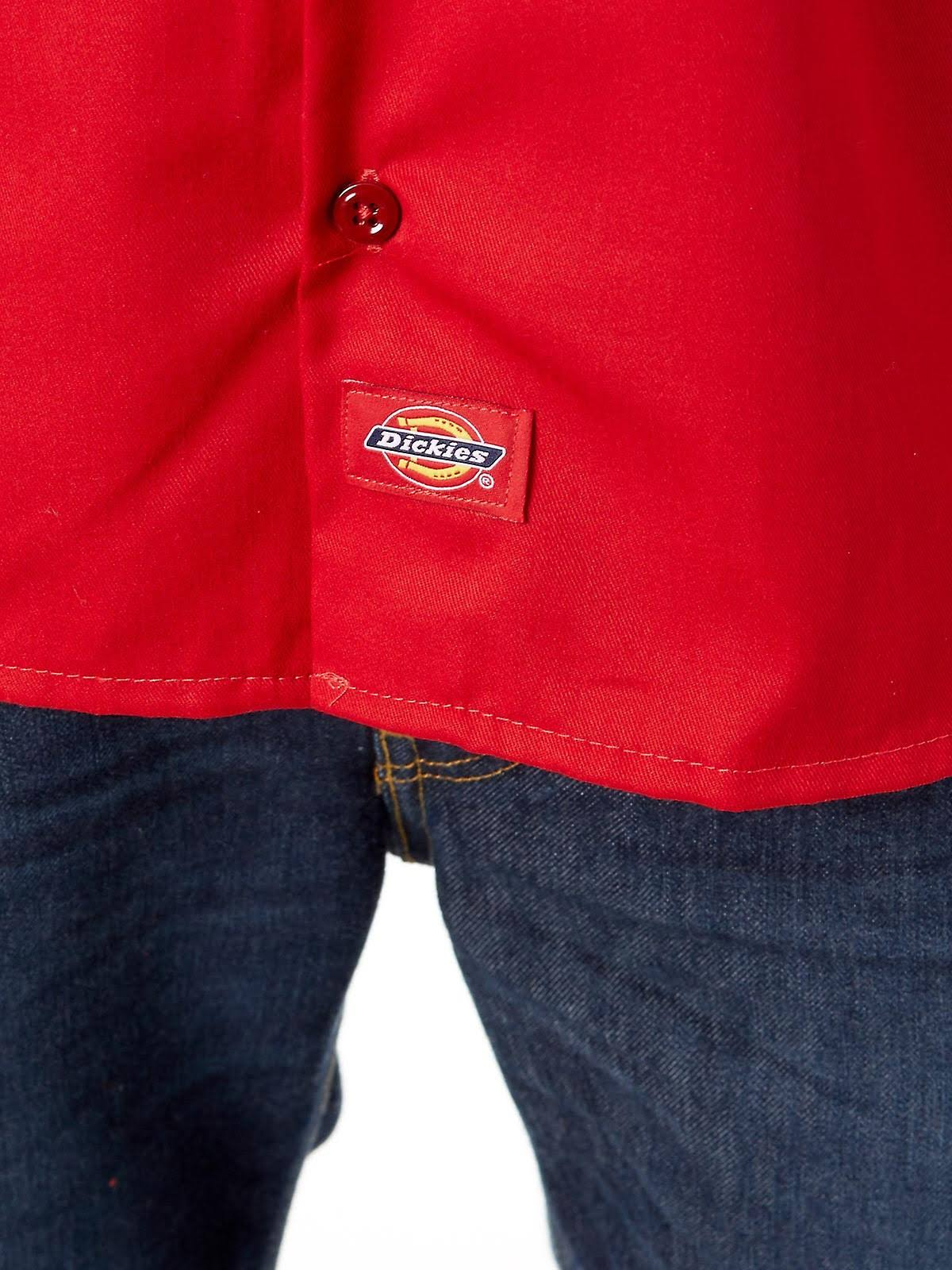 Englisch Med'm Kurzarm Vermelho arbeitshemd Red Dickies qxfZwx