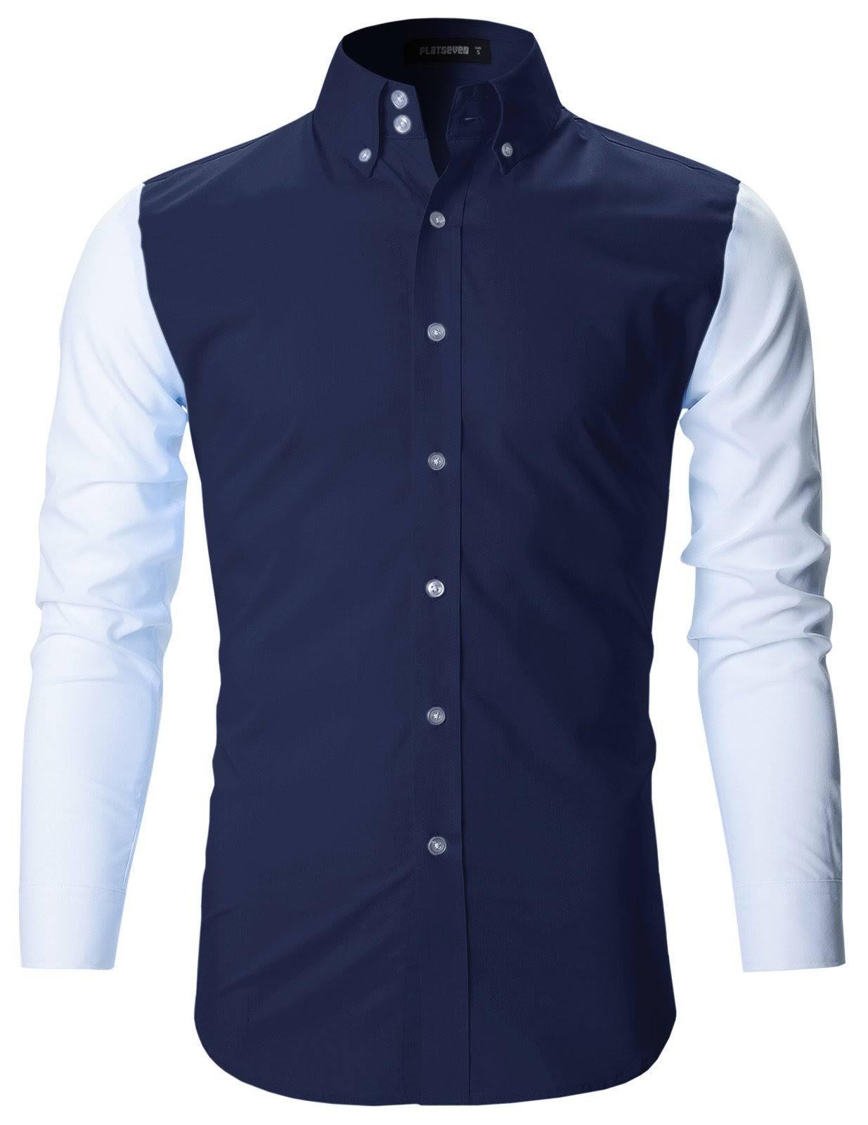 Hombre Fit Slim Camisas Premium Flatseven Casuales dnzOad