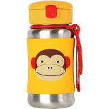 Skip Hop Zoo Stainless Steel Straw Bottle - Monkey,
