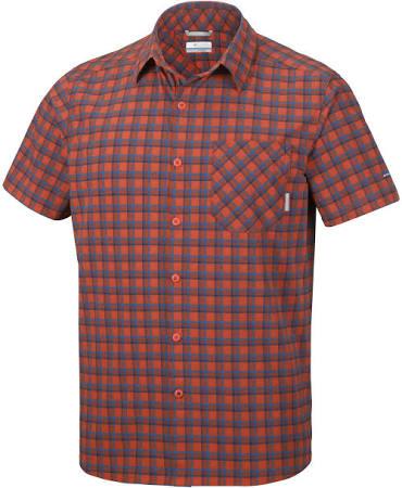 Xl Columbia Heatwave Camisa Corta Plaid Para Hombre Color Canyon Roja Manga De Talla Triple Sttrvwq7