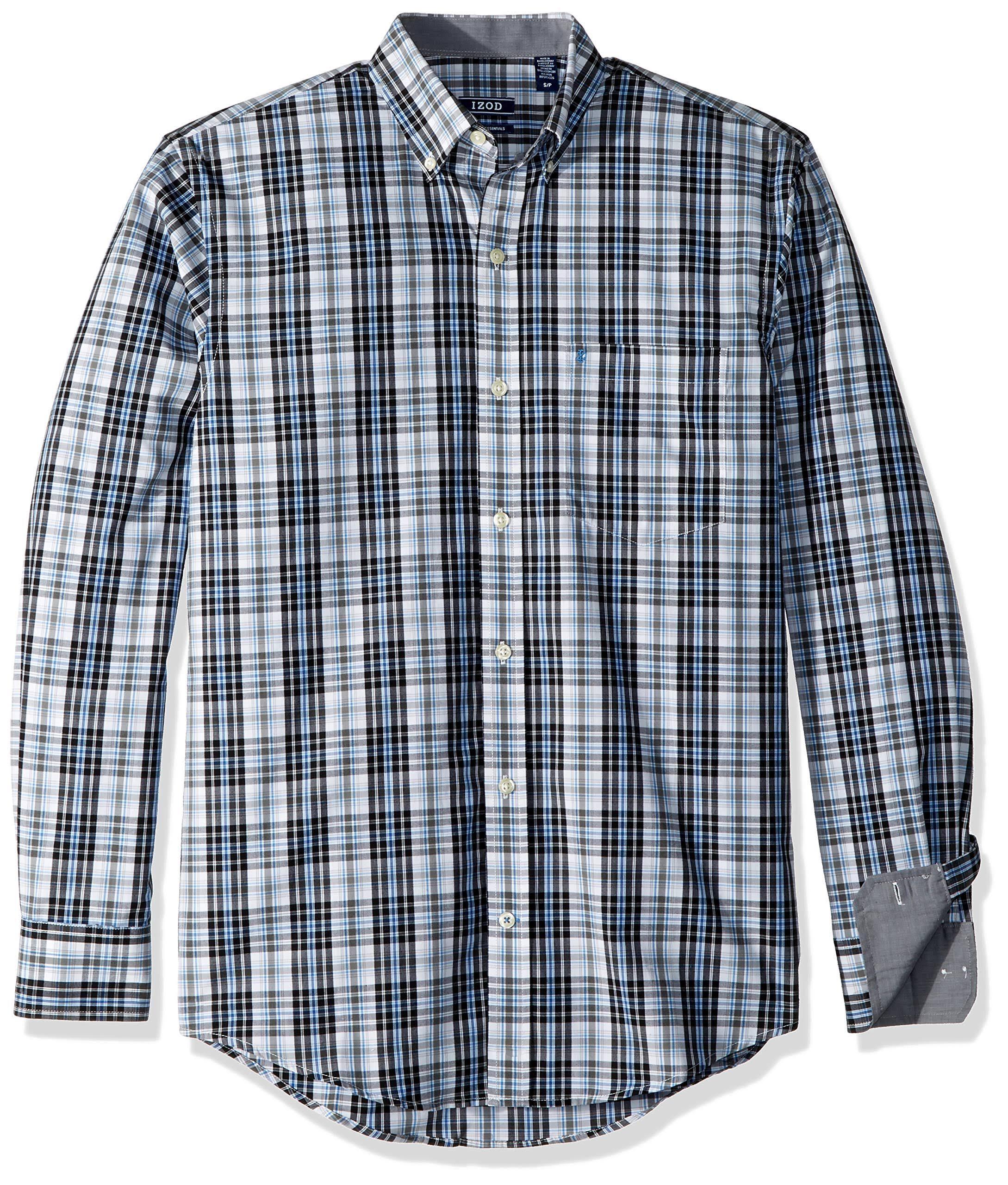 Larga A M Izod Para De Hombre Cuadros Camisa Manga Elástico Negro PBXqZCndn