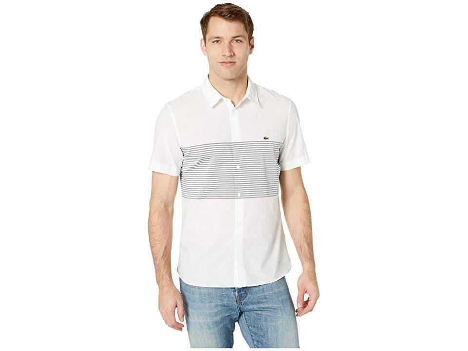 Lacoste Azul Marino Algodón Slim Blanco Fit De Popelín Para Hombre Camisa p0qx6w