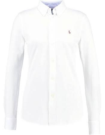 Xs Lauren Heidi Mujer Ralph Buttondown Blanco Tamaño Polo Blusa 1zRqx