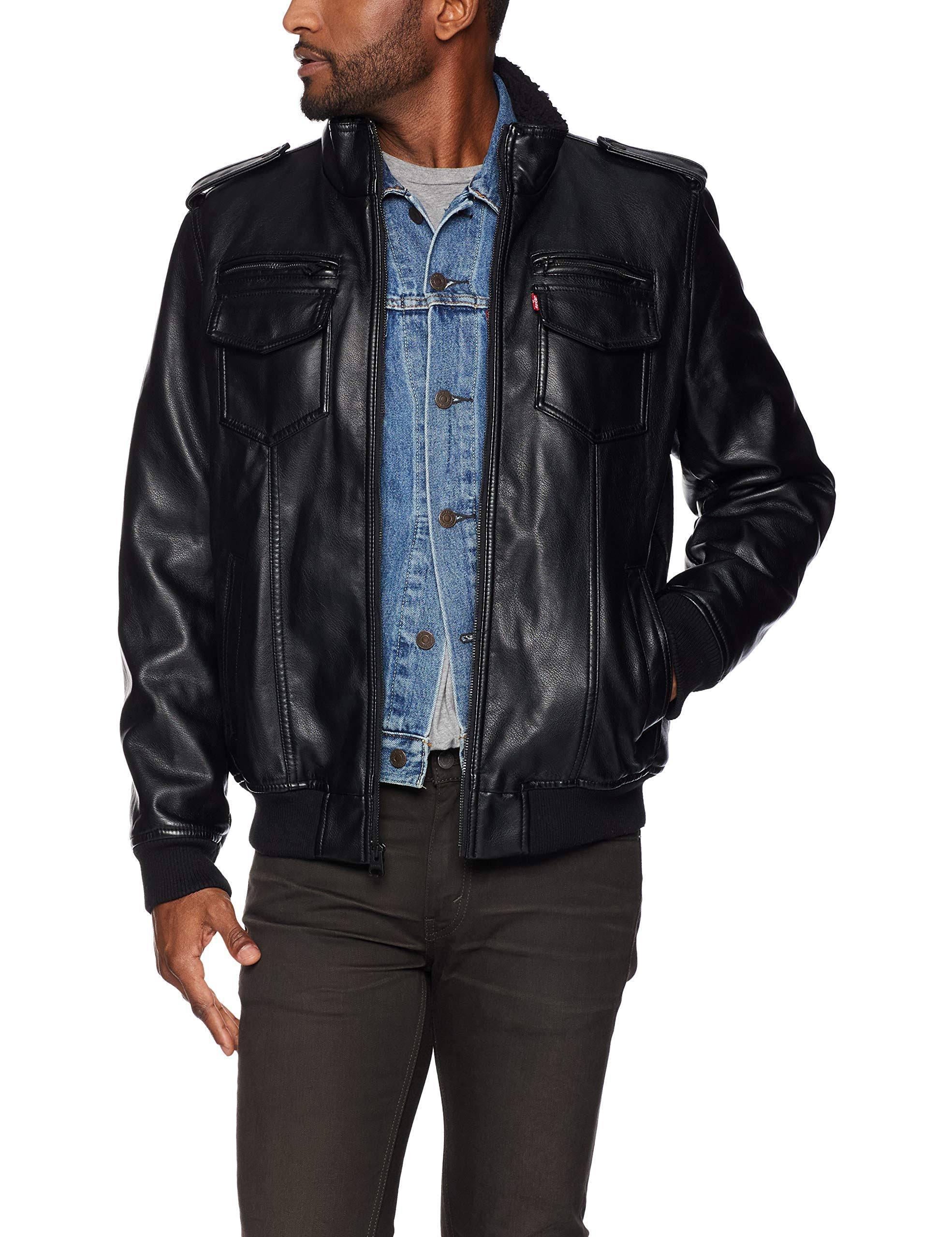 Ciervo Leather Vintage Aviador Negro Faux Bombardero Hombres Levi's Forrado w4OEqxB