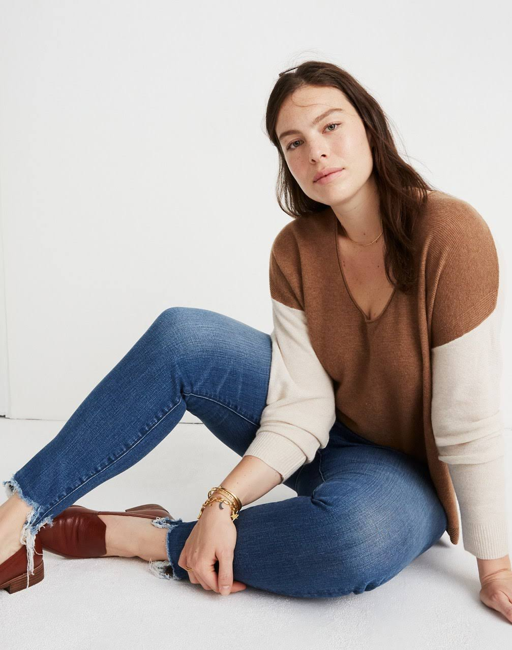 In Madewell Kimball M ColorblockTaglia Cement Maglione Heather Maglione by7fY6g