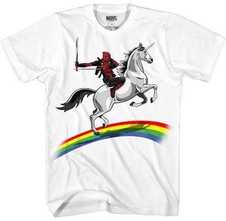 Deadpool Camiseta En Monta Del Iris Marvel Hombres Blanco La Un Los De Que Arco Unicornio vqxT8Udwx