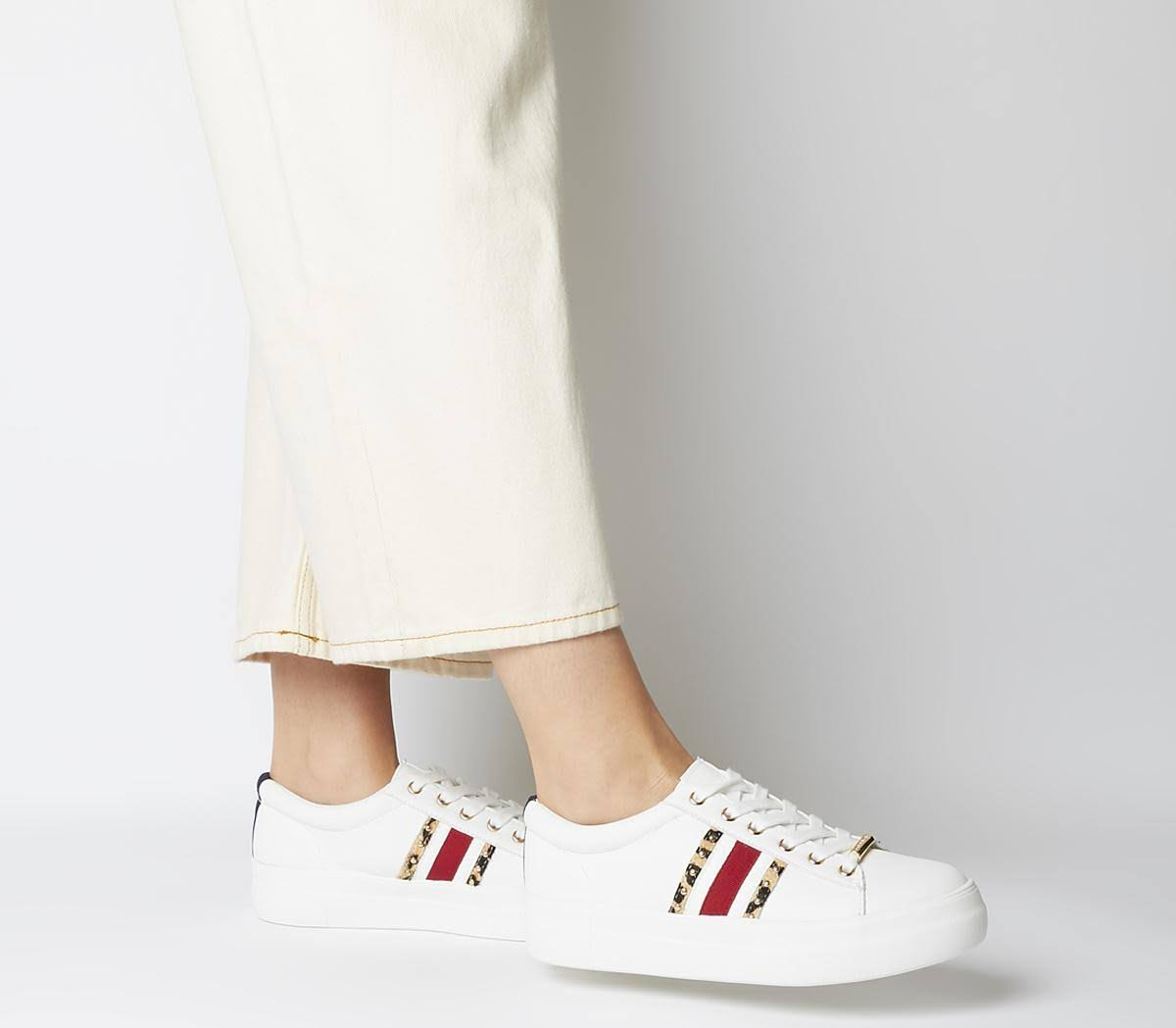 Office Freestyle Lace Up Trainers White Red Navy