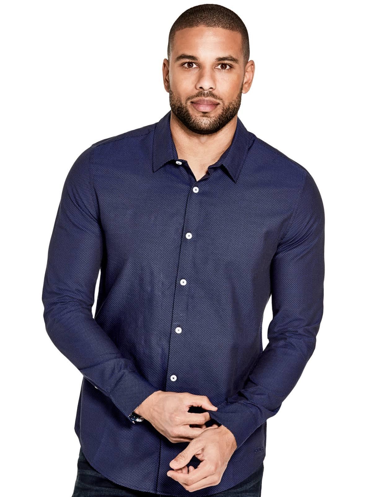 Guess Parte Chapman Camisa En Azul Con Factory Nightfall La Botones Delantera ppqxrRn