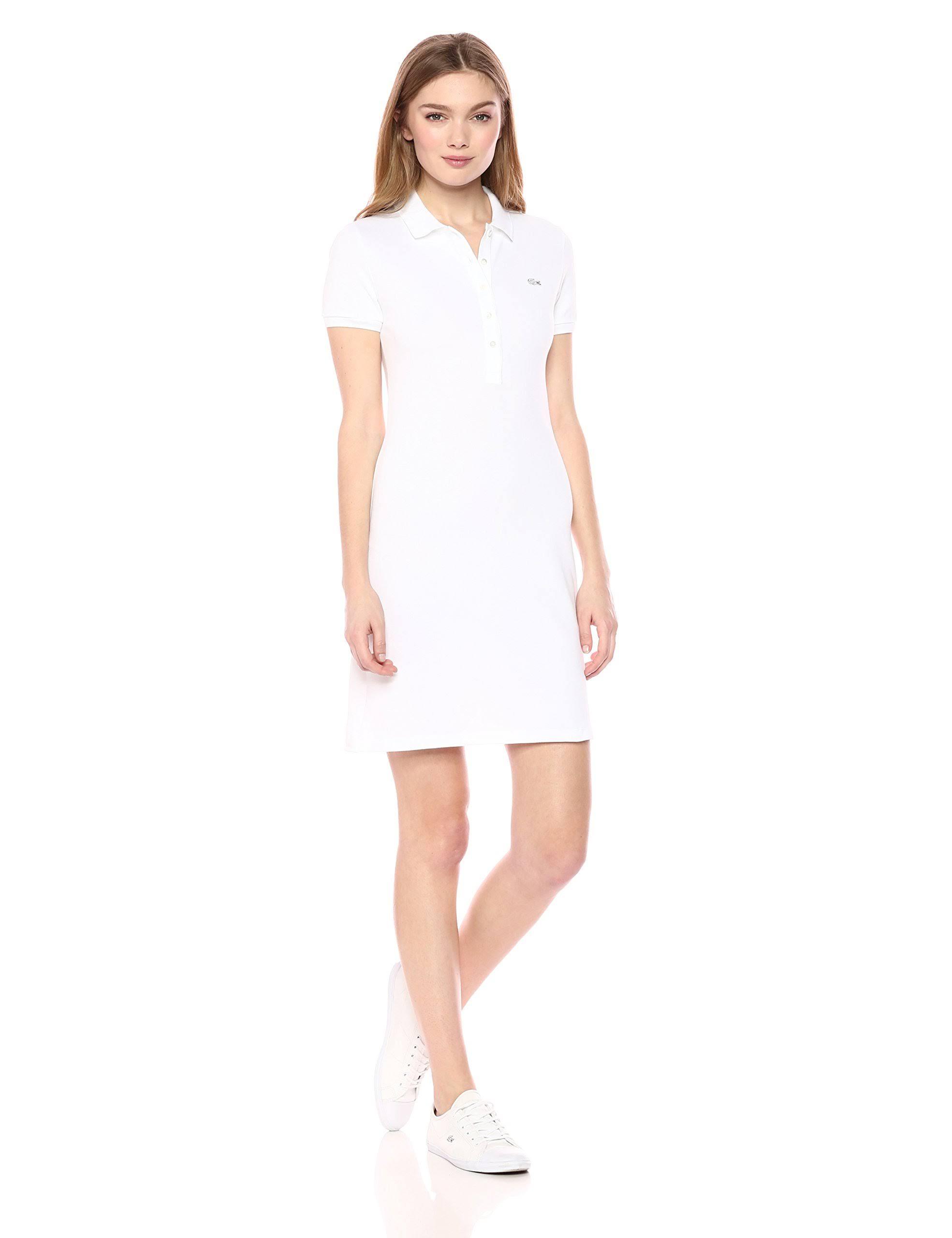 Mini De Elástico Piqué Blanco Vestido Lacoste Algodón Mujer TH8rTqg
