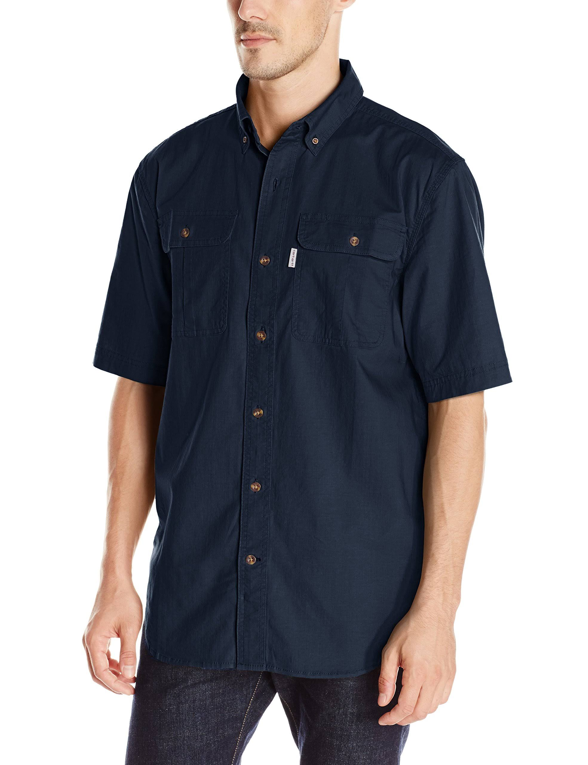 Azul Foreman Trabajo Camisas Corta Manga 101555 Carhartt Marino De a0BPTnq