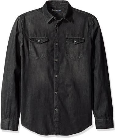 S Calvin Básica Jeans Black Rinse Sólida Vaquera Klein Camisa Sw4Sq7p