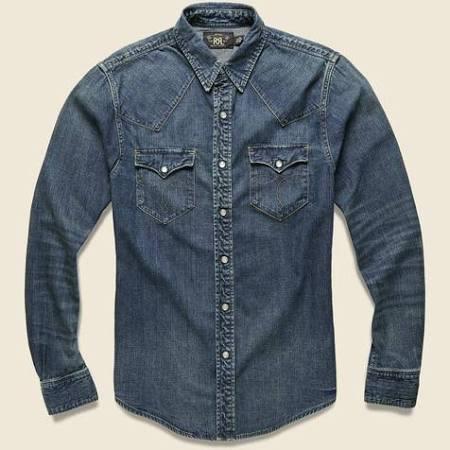 Lavado L Talla Oscuro En Slim Western Fit Denim Lauren Ralph Shirt FnpzHqY0xw